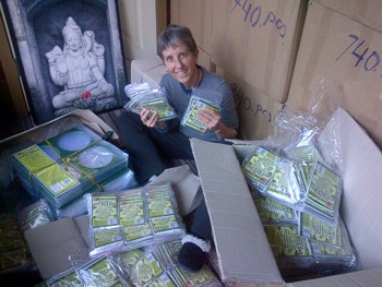 Boxes and boxes of More Than A Nut Milk Bags make Brenda Hinton very happy! (photo by Mike Hinton)